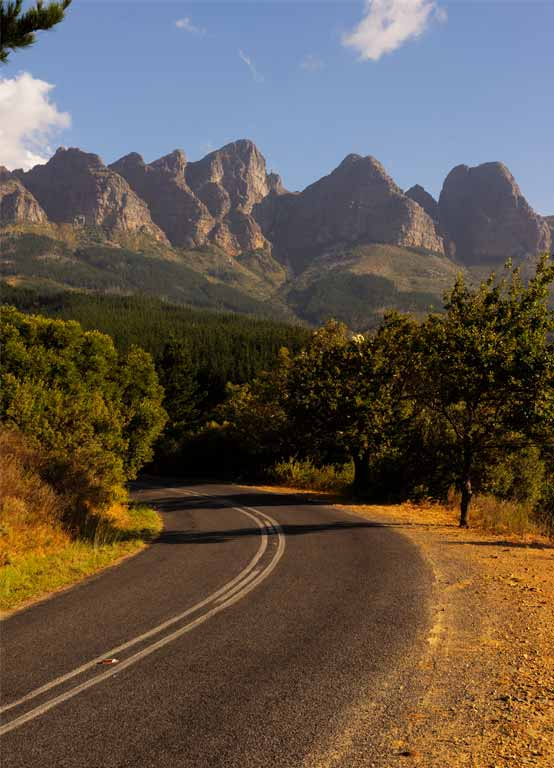 Bainskloof Pass with the Hawequa mountains in the background